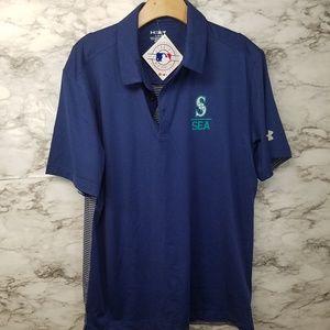Seattle Mariners Mens Polo Shirt Blue Sz L New